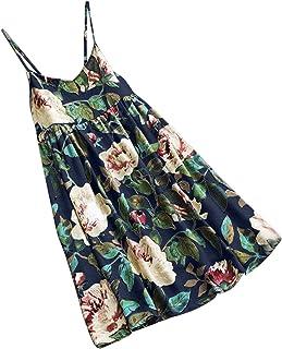 Women Sleeveless Sling Floral Print Cotton And Linen Female Dress Bohemian Floral Print Loose Mini Dress