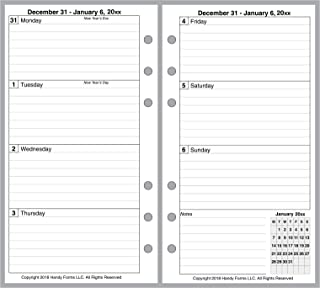 2019 Weekly & Monthly Planner for Personal Size notebooks by Filofax and Others. 2 Pages Per Week, 2 Pages Per Month. Week Starts on Monday. Style A, with Lines.