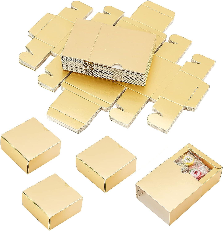 PandaHall 20 juegos de cajas de cajón de papel kraft cajas de cartón cajas de regalo para velas de jabón, caramelos, bodas, fiestas, joyas, regalo cosmético, dorado, 8 x 8 x 4 cm