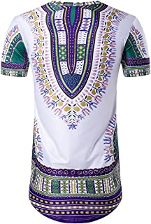 Miskely Men's Dashiki T Shirt Bright African Traditional Printed Summer Hip Hop Cotton Top Tees