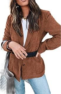 neveraway Womens Corduroy Pocket Baggy Autumn Winter Jacket Coat Long-Sleeve Blazer
