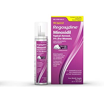 Regoxidine Women's 5% Minoxidil Foam Helps Restore Top of Scalp Hair Loss and Support Hair Regrowth with Unscented Topical Aerosol Treatment for Thinning Hair, 4-Month Supply