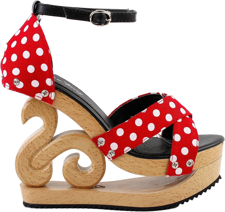 Show Story Polka Dot Ankle Strap Wooden Wedges Platform Clogs Sandals,LF30834