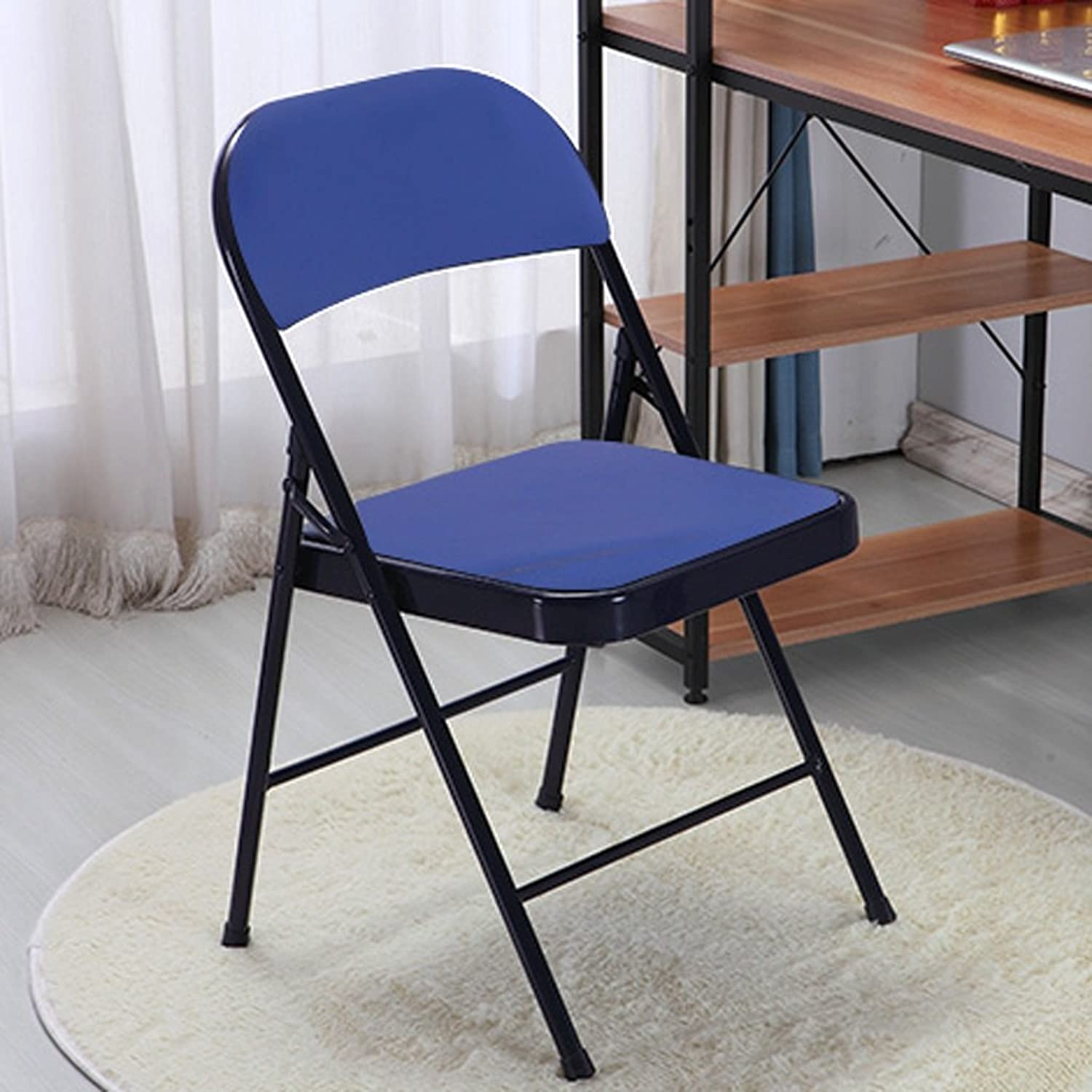 Chair Conference Folding Chair Home Computer Casual Chair Simple Office Chair Stool Stylish Dining Chair (color   Black and bluee)