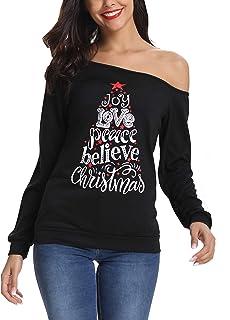 قمصان نسائية من LYHNMW لأعياد الكريسماس مرحة لأعياد الكريسماس وعيد الميلاد راجلان بأكمام طويلة