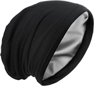 Satin Silk Lined Sleep Cap Frizzy Hair Beanie Adjustable Bonnet Slouchy Skull Night Cap Hair Protection Patients Care Hat