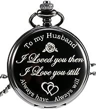 Pangda Quartz Pocket Watch to Husband Gift, Anniversary Gift Valentine's Day Gift, Engraved Pocket Watch
