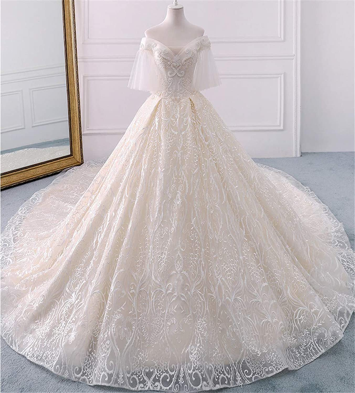 Wedding Dress, Sexy Luxurious Deep VNeck Strapless Strap high Quality Polyester Europe and America Beading Embellishment Trailing Church Wedding Dress
