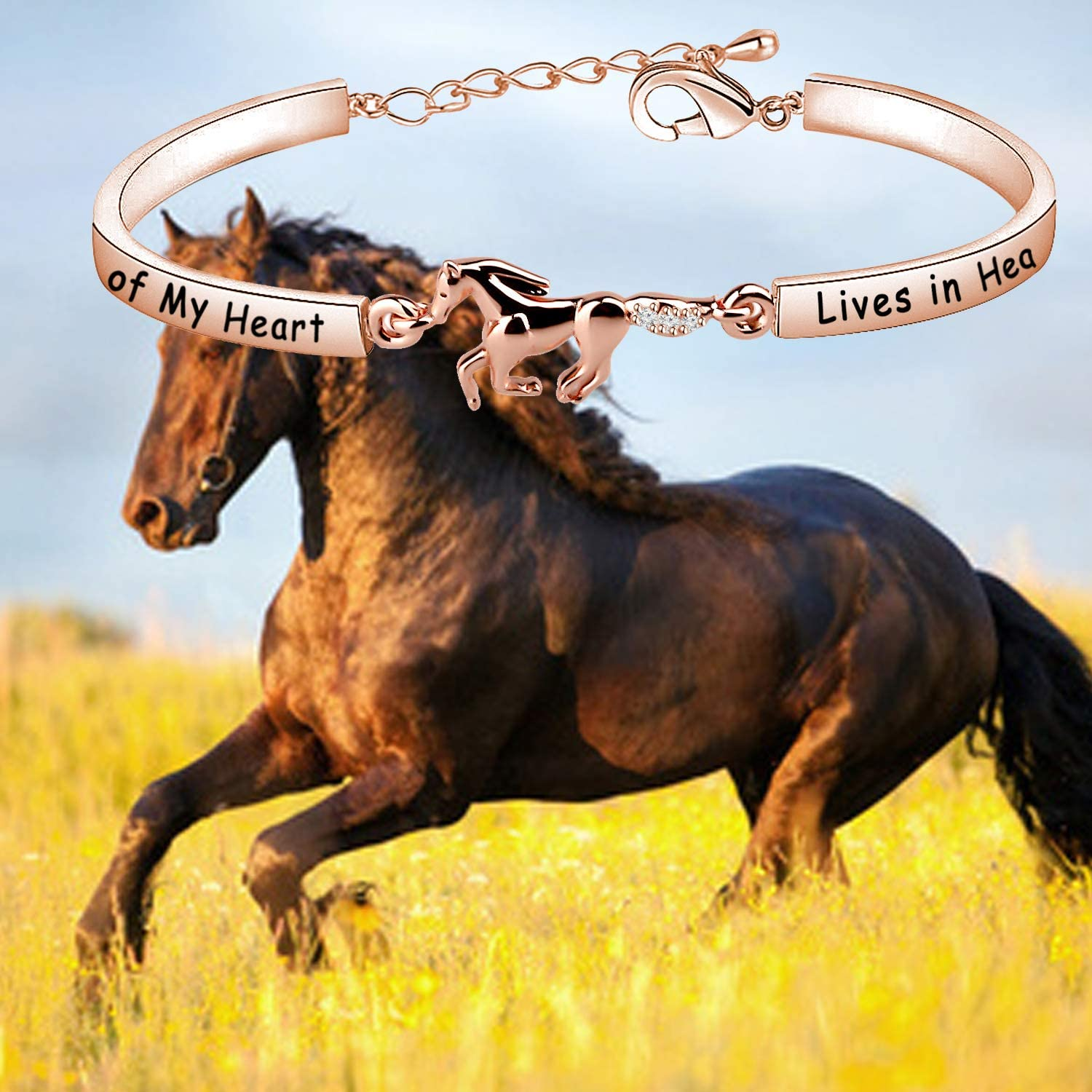 Zuo Bao Horse Memorial Jewelry Horse Lover Bracelet A Piece of My Heart Lives in Heaven Gift Loss of Horse Bracelet