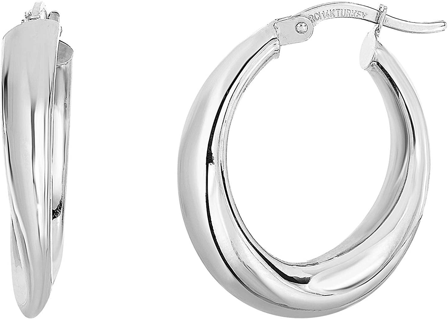 14kt Gold White Finish 4.7x13x18mm Shiny Oval Graduated Hoop Earring with Hinged Clasp