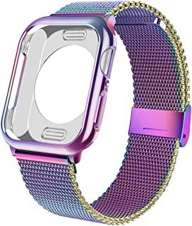 jwacct Stainless Steel Bands Compatible for Apple Watch 38mm 40mm 42mm 44mm, Adjustable Magnetic Metal Strap with Soft TPU Case Compatible for iwatch Series 6/5/4/3/2/1, SE