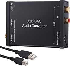 LiNKFOR USB to SPDIF Coaxial RCA and 3.5mm Headphone Jack Converter USB DAC Optical Audio Adapter USB DAC PCM for Windows Mac PS4 PS3