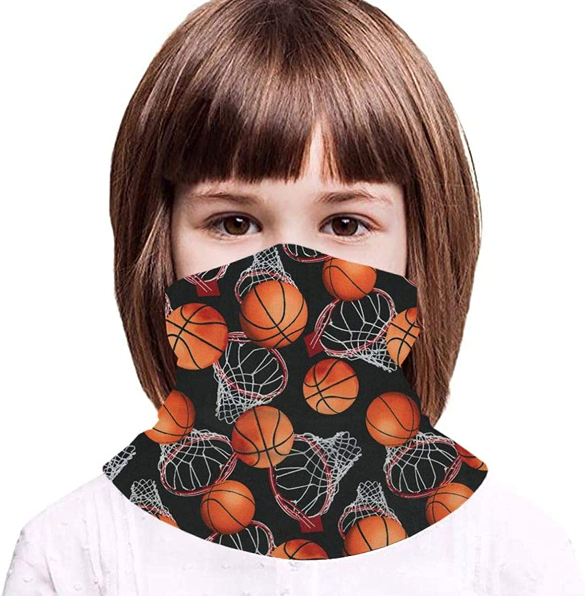Basketball On Black Headwear For Girls And Boys, Head Wrap, Neck Gaiter, Headband, Tenn Fishing Mask, Magic Scarf, Tube Mask, Face Bandana Mask For Camping Running Cycling