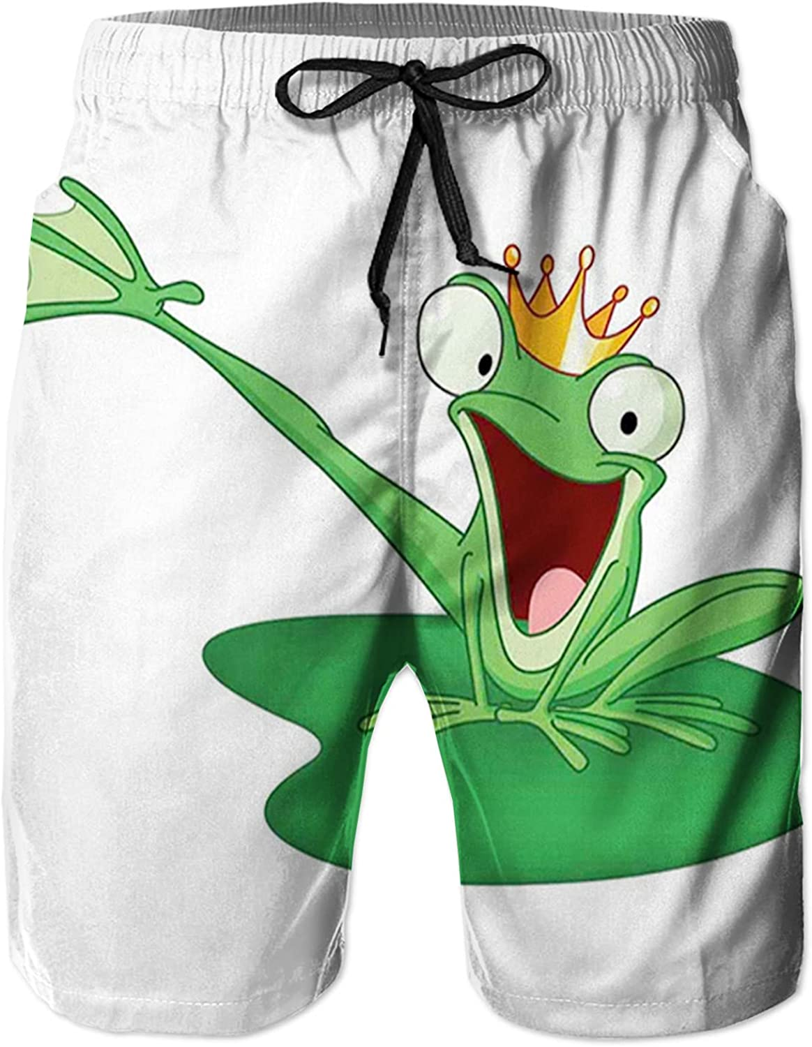 Men's Long Swim Trunks with Mesh Lining Beach Bathing Suits Board Shorts Swimwear with Pockets and No Mesh,Happy Frog Prince with Crown in The Lake Character Love Fairytale L