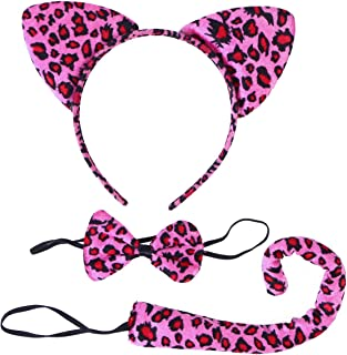 Fenical 3Pcs Kids Cat Ears Headband Bow Ties Tail Set Party Cosplay Costume (Rosy Leopard Print)