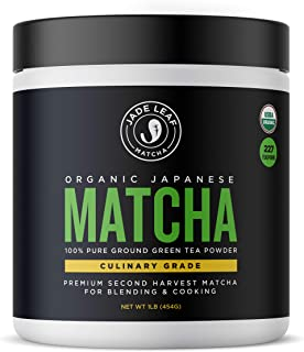 Jade Leaf Matcha Green Tea Powder - USDA Organic, Authentic Japanese Origin - Culinary Grade (Smoothies, Lattes, Baking, Recipes) - Antioxidants, Energy [1lb Bulk Size]