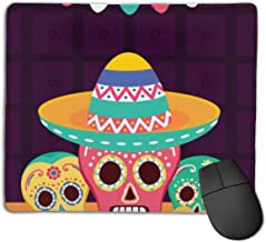 Mousepad Sugar Skulls Hat Decoration Celebration Viva Mouse Pad Mat Quick and Accurate Move Non Slip Base, Smooth Surface
