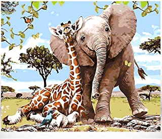 Bigie Paint by Numbers for Adults DIY Oil Painting Paint by Number kit with Scenery People PBN Home Office Wall Art Decor 16x20inch (Giraffe Elephant)