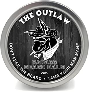 Badass Beard Care Beard Balm For Men - The Outlaw Scent, 2 oz - All Natural Ingredients, Soften Hair, Hydrate Skin to Get Rid of Itch and Dandruff, Promote Healthy Growth