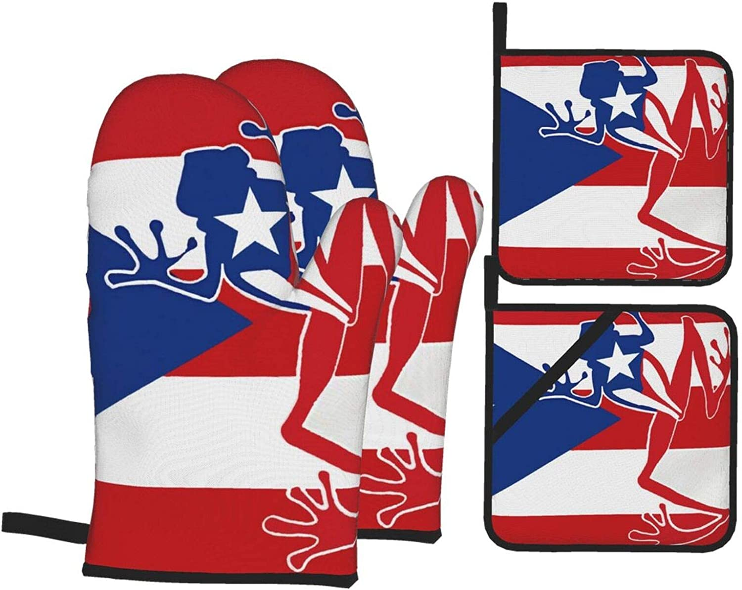 Puerto Rico Flag Frog On Oven Mitts Finally popular brand Gorgeous Res Holder and Pot Heat Sets