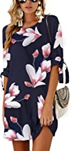 YOINS Summer Dresses for Women Long Sleeves T Shirts Solid Crew Neck Tunics Self-tie Blouses Mini Dresses
