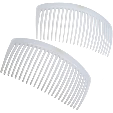 Camila Paris CP3024 French Side Combs Large 2 Pack Curved, White Flexible Durable Cellulose Hair Combs, Strong Hold Grip Hair Clips for Women, No Slip Styling Girls Hair Accessories, Made in France