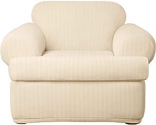 Surefit Home Décor Stretch Pinstripe T-Cushion Chair Two Piece Slipcover, Form Fit, Polyester/Spandex, Machine Washable, C...