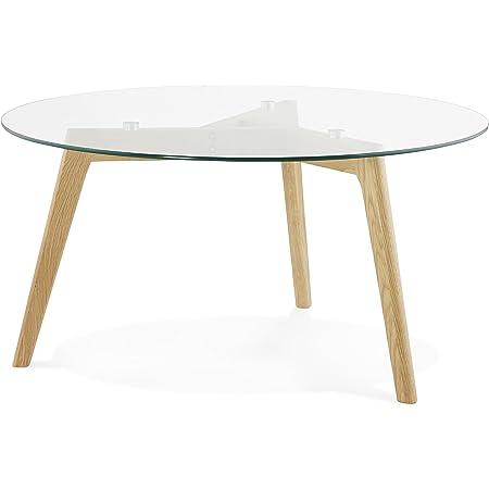 KoKoon Lily Table à Diner Design en, Verre, Transparent, 90x90x45 cm