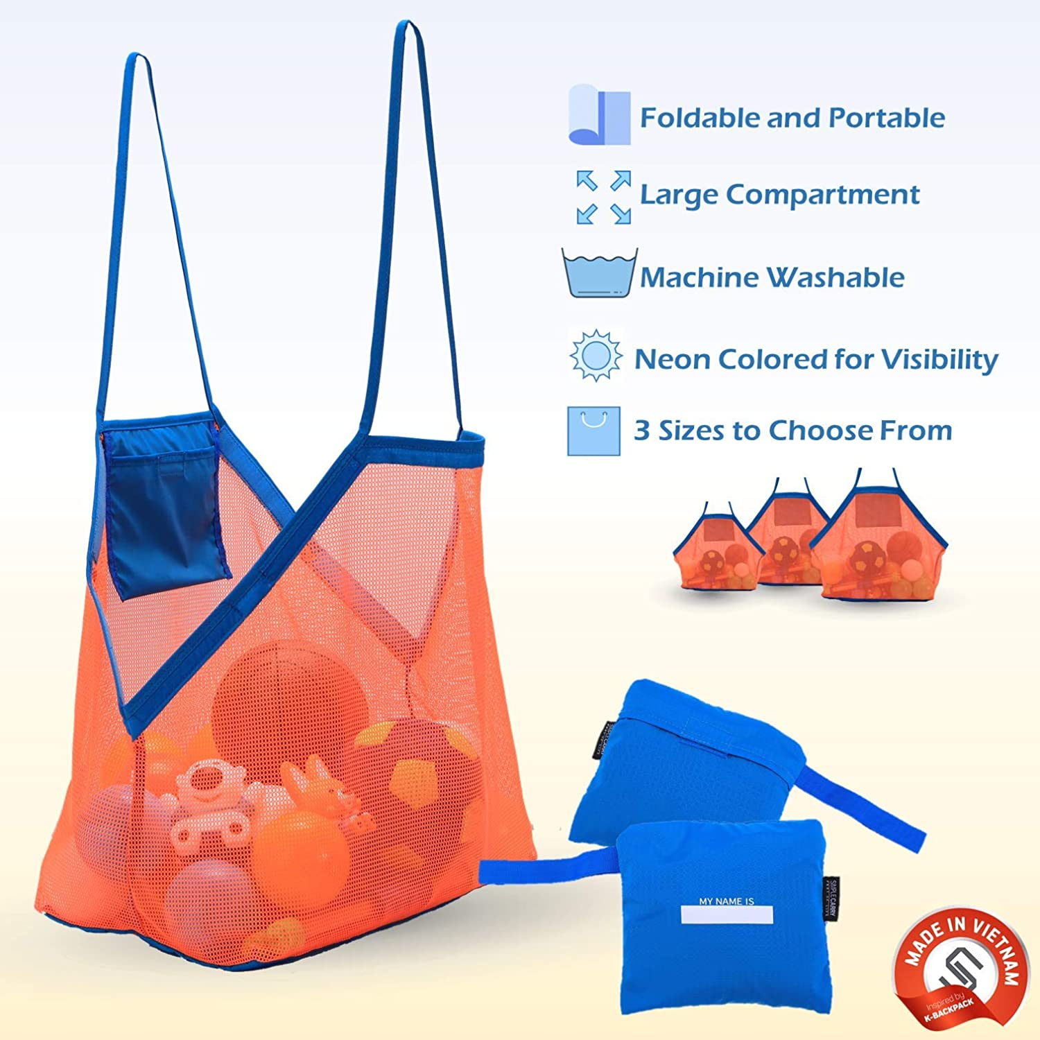 Sea Shells Bag Grocery or Picnic Tote Towels Small Foldable and Lightweight for Kids Beach and Pool Toys SIMPLECARRY Mesh Beach Tote Bag Large