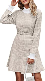 MsLure Women's Elegant Plaid Knit Mini Dress Belted Long Sleeve Ruffle Hem Dress