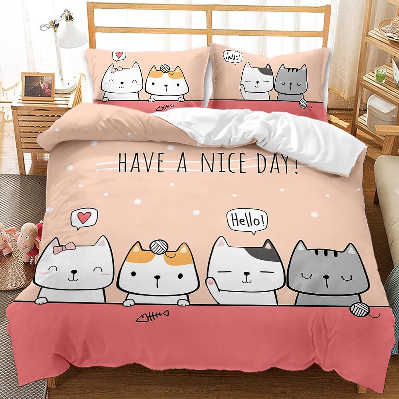 HGUT Cartoon Animal Duvet Cover Large-scale sale Set Kids Cat for Bedding price Gir