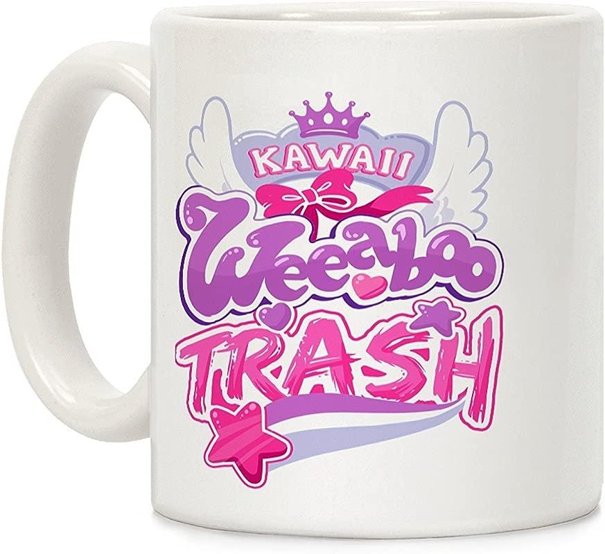 LookHUMAN Kawaii Weeaboo Trash Anime Logo White 11 Ounce Ceramic Coffee Mug