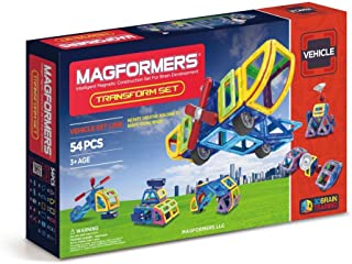 Magformers Vehicle Transform Set (54-Pieces) Magnetic    Building      Blocks, Educational  Magnetic    Tiles Kit , Magnetic    Construction  STEM Set Includes Wheels