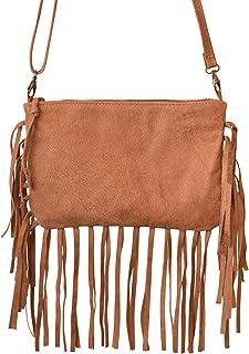 c2390ca8d680 Handmade Real Leather Women s Fringe Clutch Bag Crossbody Shoulder Evening Purse  Camel Brown