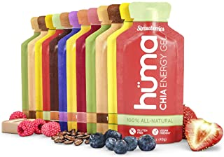 Huma Chia Energy Gel, Variety 12 Pack - Stomach Friendly, Real Food Energy Gels for Endurance Exercise