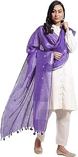 Women's Designer Dupatta Long Linen Chunni Neck Hijab Purple Scarves Veil Wrap