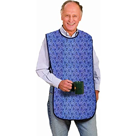 Blue Peacock Extra Large Adult Bib waterproof stain-proof vinyl covered extra-large bib with pocket machine washable