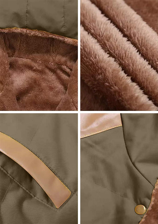 YMING Damen Winter Warme Weste Einfarbige Reißverschluss Weste Ärmellose Steppjacke Mit Taschen Mantel Mit Abnehmbarer Kapuze 2XS 2XL Z-armeegrün