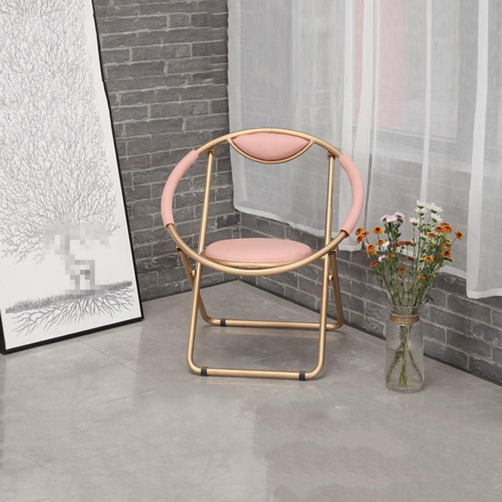 WANGJUNAI Couleur métal chaise de salle à manger pliante chaise longue extérieure en fer forgé patron chaise back office ordinateur chaise café (Color : White) White