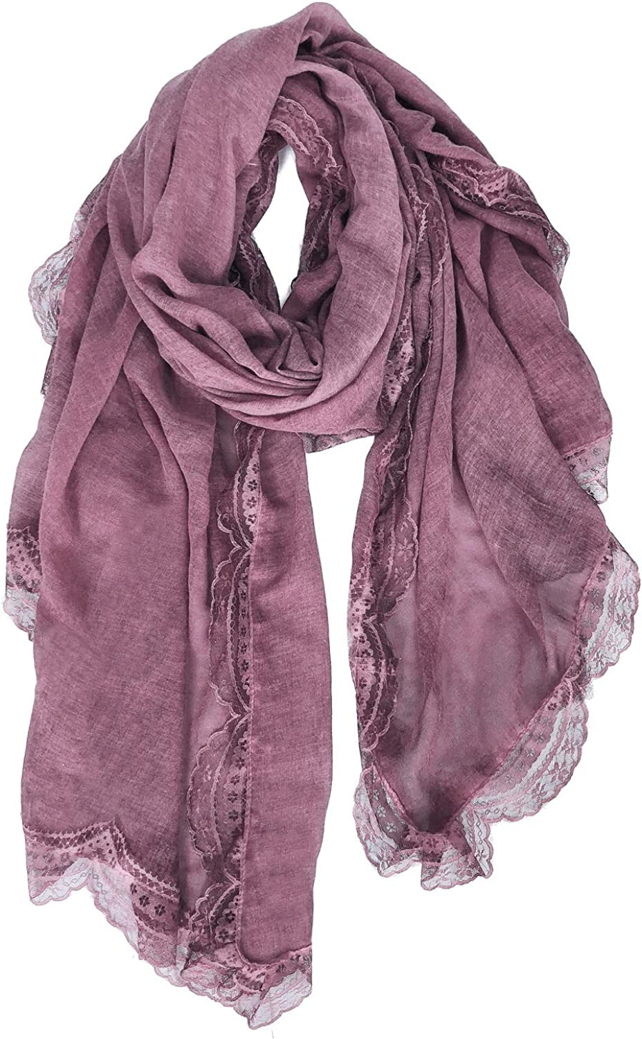 GERINLY Large Cotton Blanket Scarfs for Women Lace Design Lightweight Scarves and Wraps