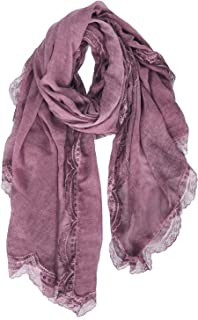 GERINLY Fashion Lace Print Scarf Lightweight Soft Wrap Shawl