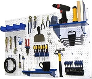 Wall Control 30-WRK-400 WBU Pegboard Organizer 4' Metal Standard Tool Storage Kit with White Tool Board and Blue Accessories