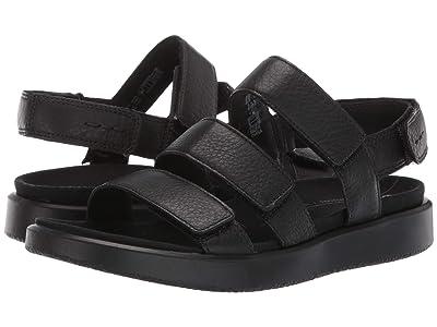 ECCO Flowt 3 Strap Sandal (Black Cow Leather) Women