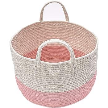 Zinsale Cuerda de algodón Cestos para la Colada Pom Pom Robusta Lavable Cesto de lavandería Juguetes para bebés Cesta de Almacenamiento de contenedores con asa (Rosado): Amazon.es: Hogar