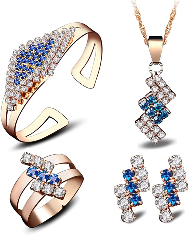 YAMULA 2017 Charming Ladies 4-in-1 Jewelry Sets, Wedding Jewelry Flower Necklace, Bangle Bracelet, Ring & Crystal Stud Earrings