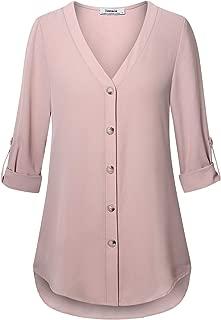 Youtalia Women's Chiffon V Neck Blouses Cuffed Sleeve Button Down Shirt Tops