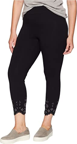 Plus Size Embroidered Hem Cotton Skimmer Leggings