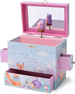Jewelkeeper Musical Jewelry Box 3 Drawers, Woodland Owls Design, Twinkle Twinkle Little Star Tune