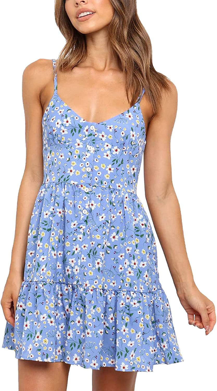 Womens Boho Beach Dress - Floral Strap Fort Worth Mall Spaghetti Fort Worth Mall V Sleeveless Ne