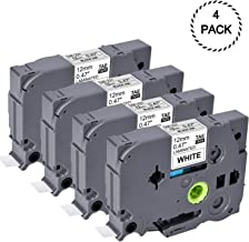 Replace Brother Tze 231 Tape 12mm 0.47 Laminated Black on White 4 Pack Tz-231 Compatible with P Touch Label Maker PT-D210 PT-H110 PT-D600 PT-1230PC PT-1280